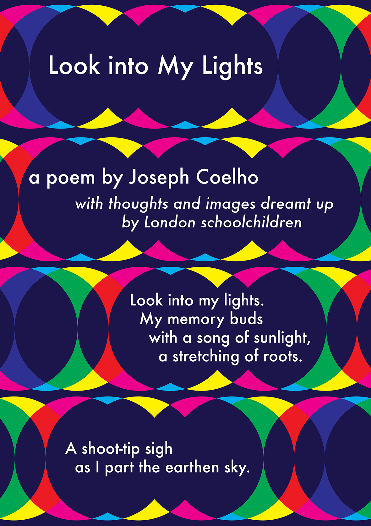 the start of Joseph Coelho's poem 'Look into My Lights' on the banner designed by James Brown